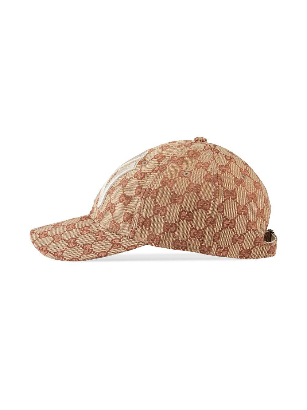 bb17fa2e Gucci Baseball Hat With Ny Yankeestm Patch in Brown - Save 22% - Lyst