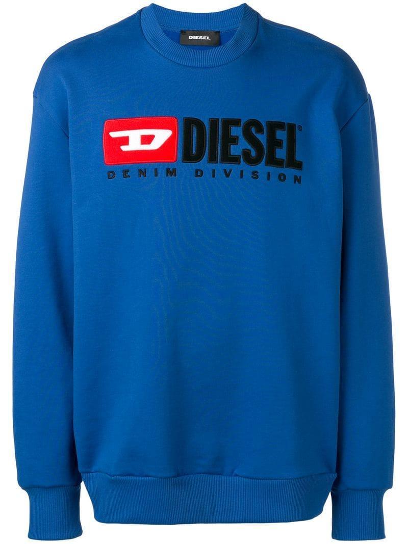 Lyst - Sudadera con parche del logo DIESEL de hombre de color Azul 35fa636704c00