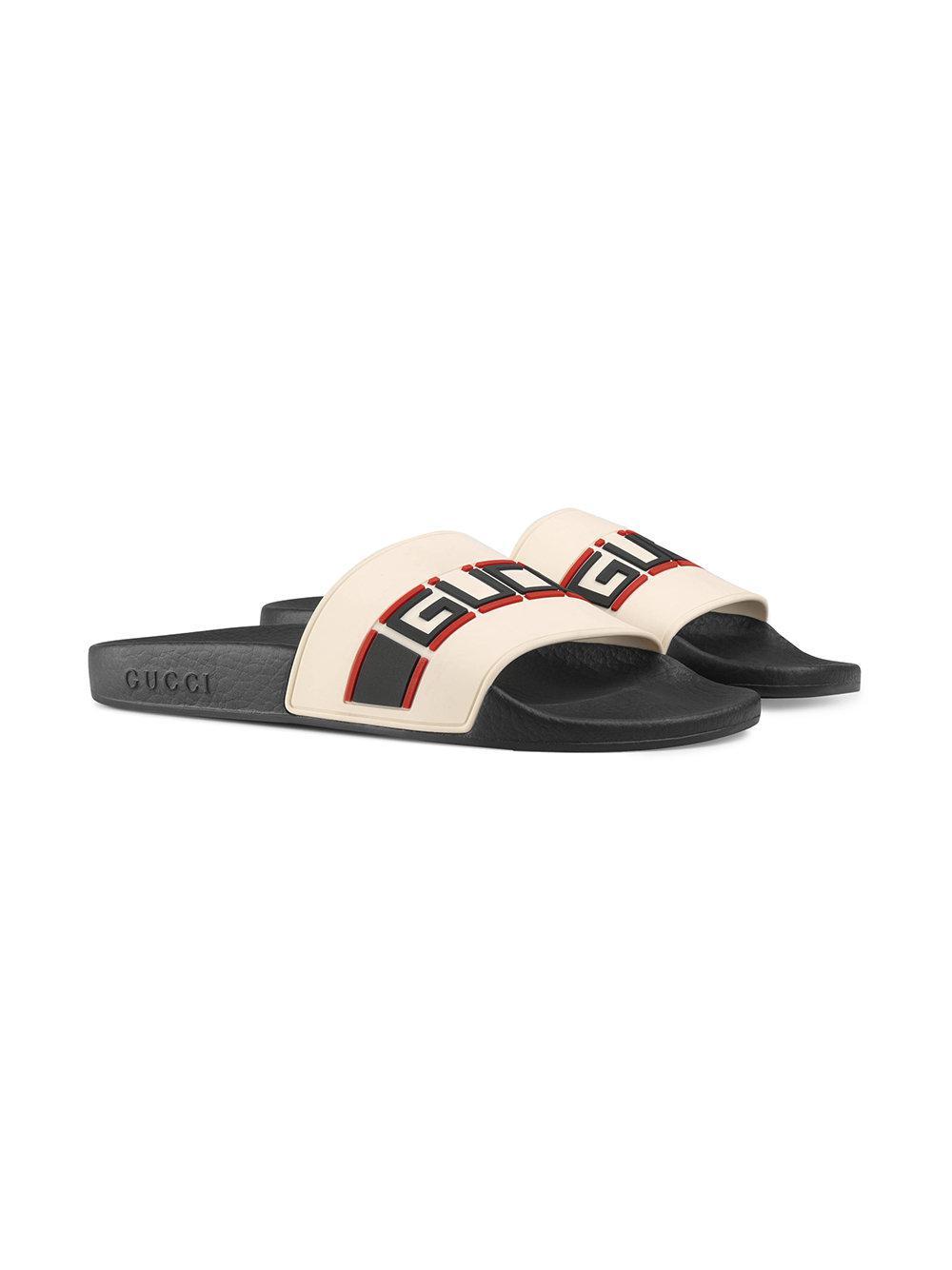 a28d75227825 Lyst - Gucci Stripe Rubber Slide Sandals in White - Save 14%