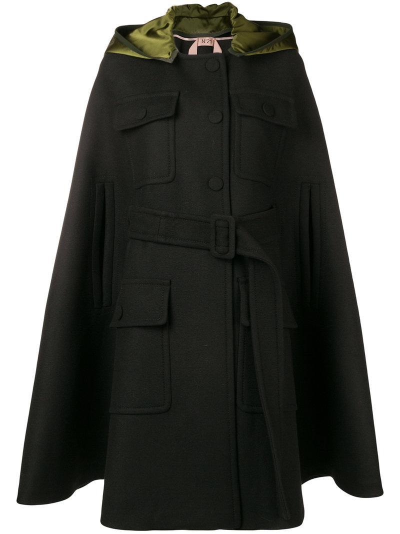 Lyst - N°21 Hooded Cape Coat in Black 02d9fb4ae46