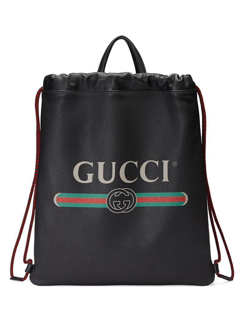 bbe24d2dfd1 Gucci - Black Print Leather Drawstring Backpack for Men - Lyst. View  fullscreen
