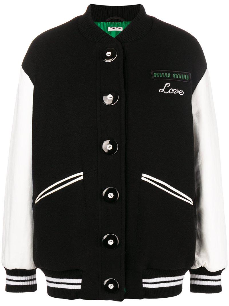 88a9ac0692d3 Lyst - Miu Miu Love Embroidered Bomber Jacket in Black - Save 48%
