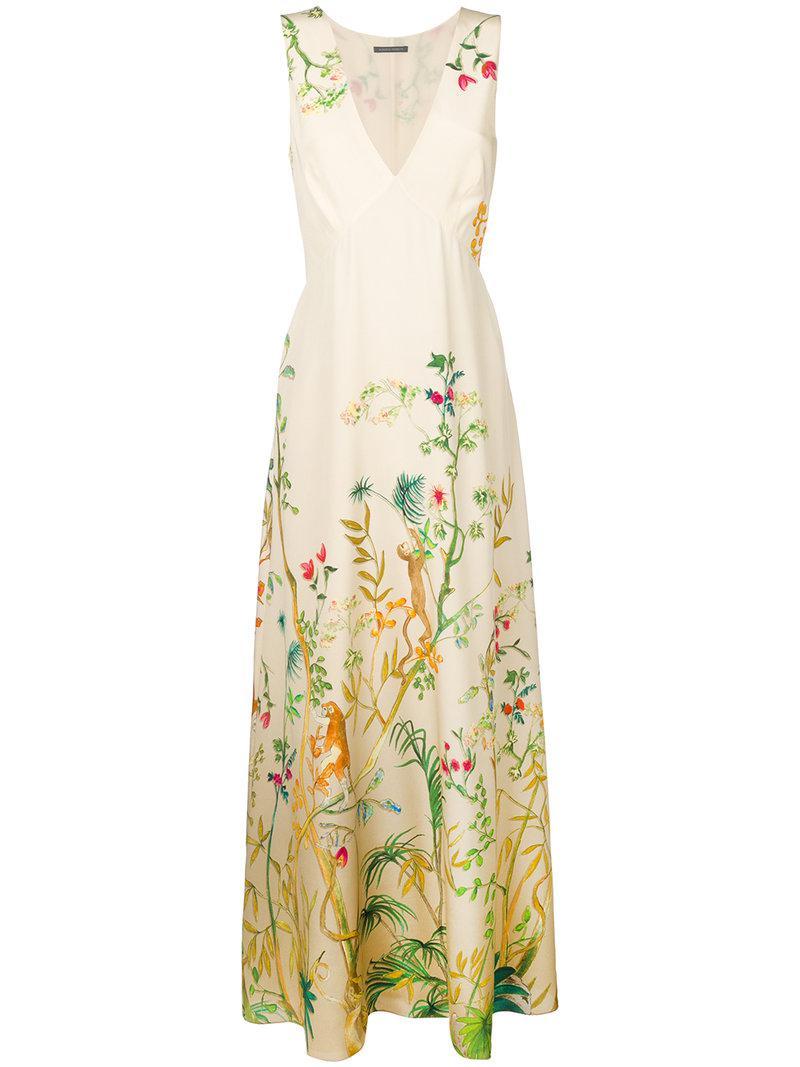 Alberta Ferretti Floral Print Maxi Dress Lyst