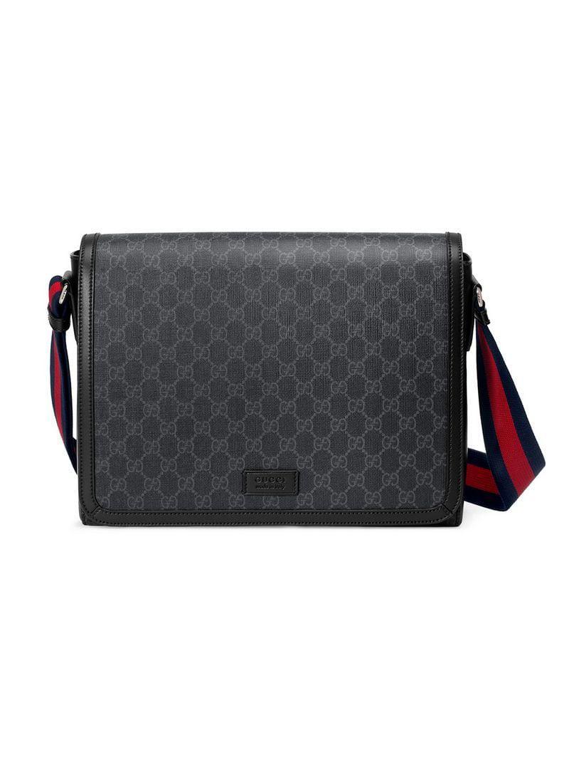 0c9e9bf91b4 Gucci GG Supreme Flap Messenger in Black for Men - Save 47% - Lyst