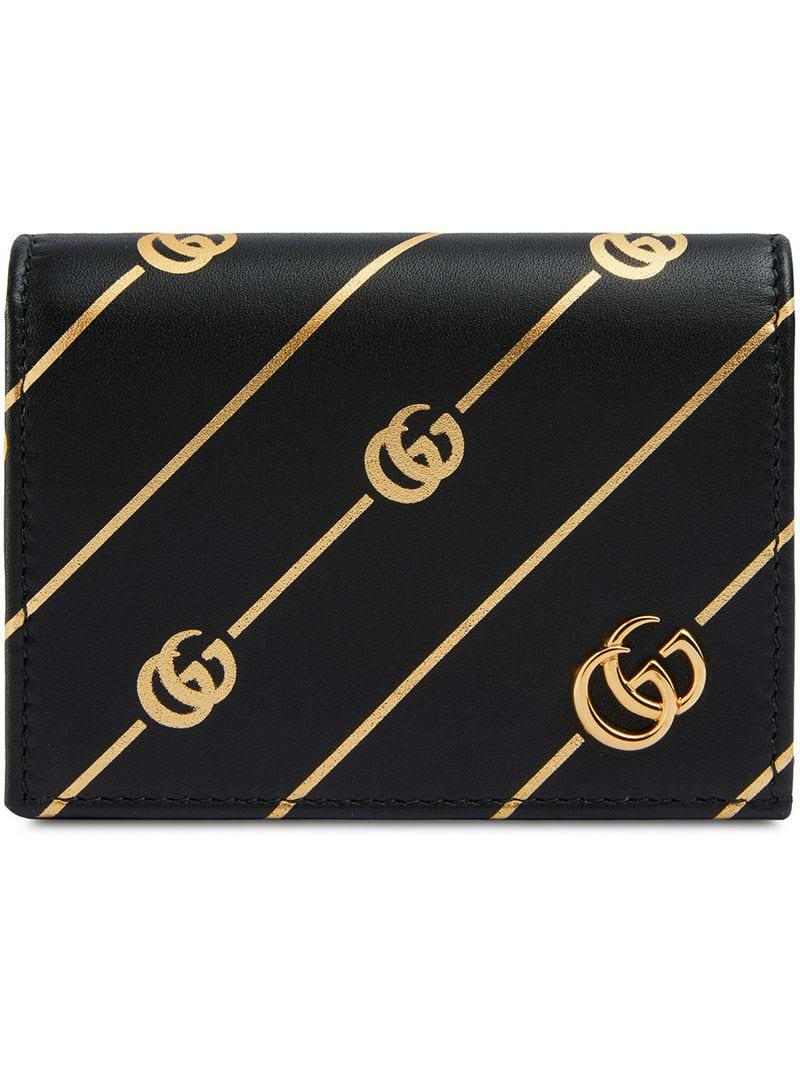 45113a4e874 Lyst - Gucci Printed Leather Cardholder in Black