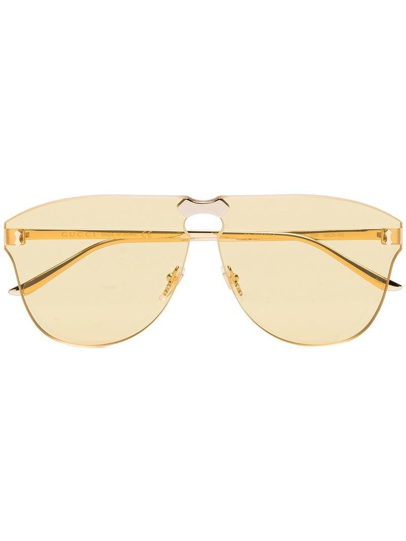b4d50d30e Lyst - Gucci Yellow Aviator-frame Rimless Sunglasses in Yellow - Save 1%