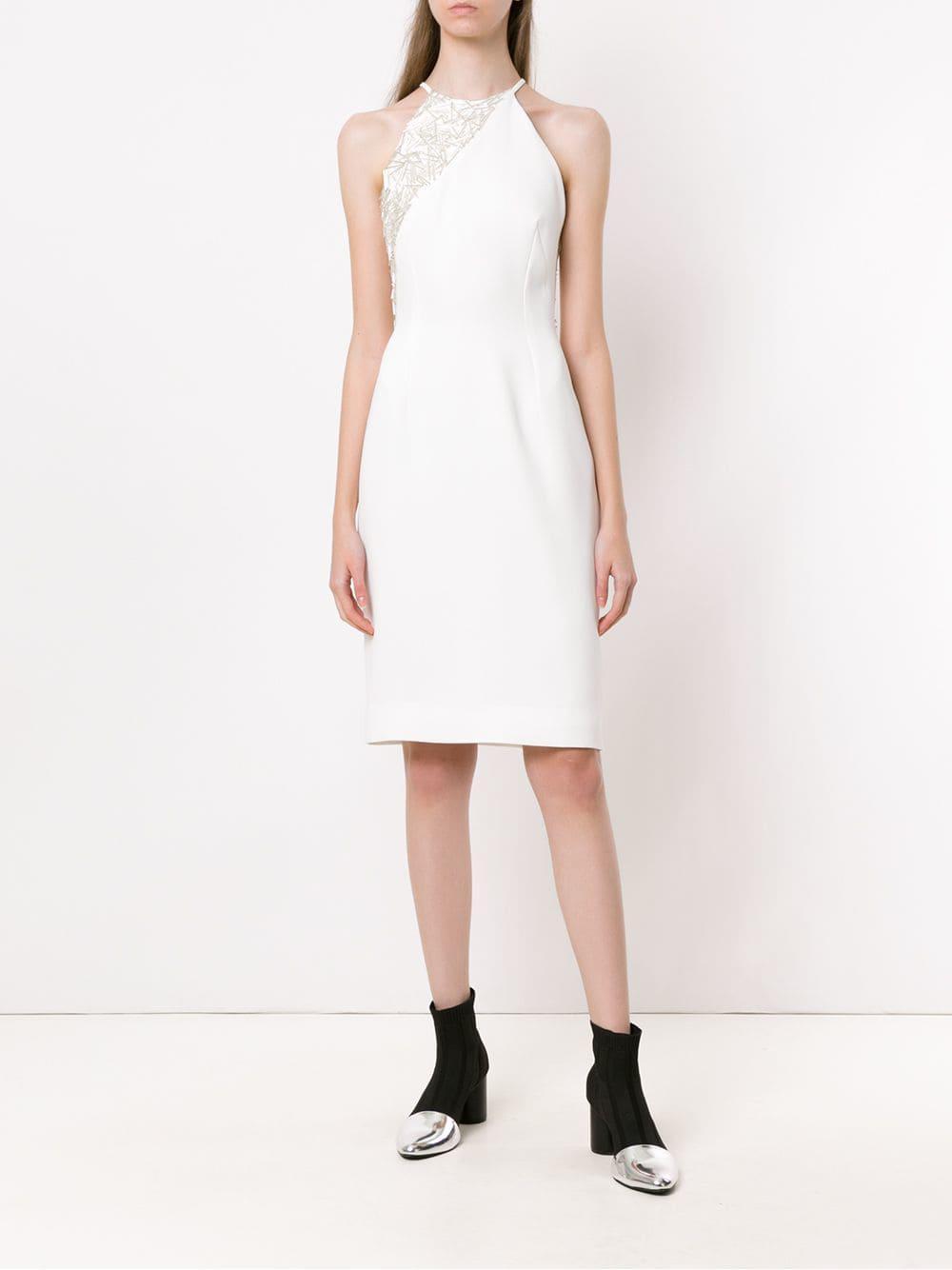 d212e5b384 Gloria Coelho Embroidered Detail Dress in White - Lyst