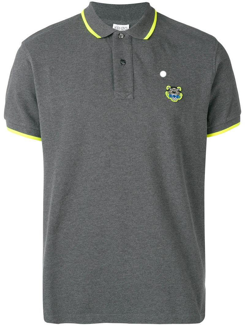 fb65d756 KENZO - Gray Embroidered Tiger Polo Shirt for Men - Lyst. View fullscreen