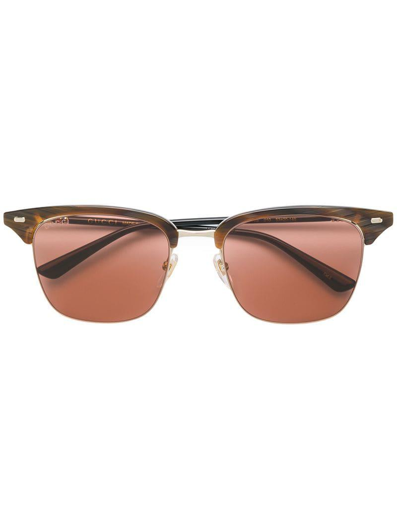 64f52627a63 Gucci Clubmaster Style Sunglasses in Brown for Men - Lyst