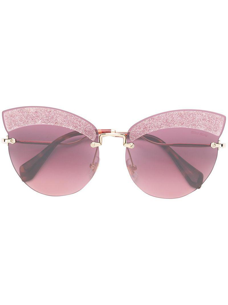 Miu Miu. Gafas de sol Runaway con purpurina de mujer de color rosa 90872d816a