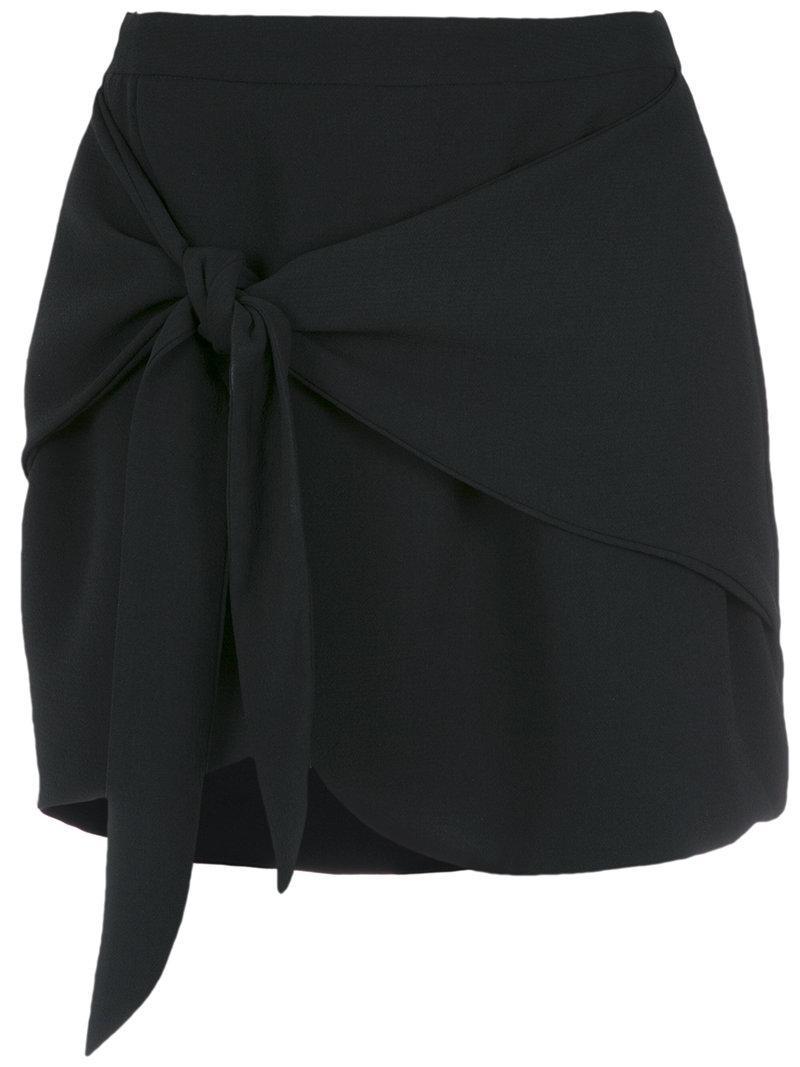 Olympiah. Women's Black Tie Fastening Mini Skirt
