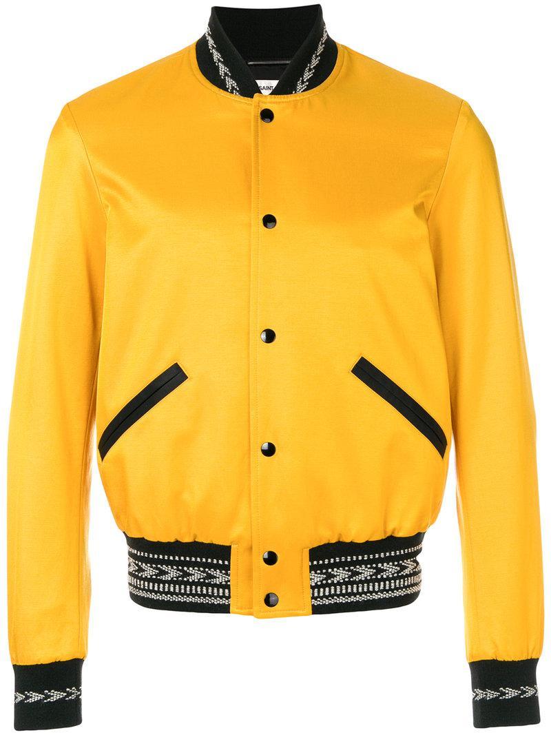 Varsity bomber jacket - Yellow & Orange Saint Laurent Quality Free Shipping pQ6d6lOe7