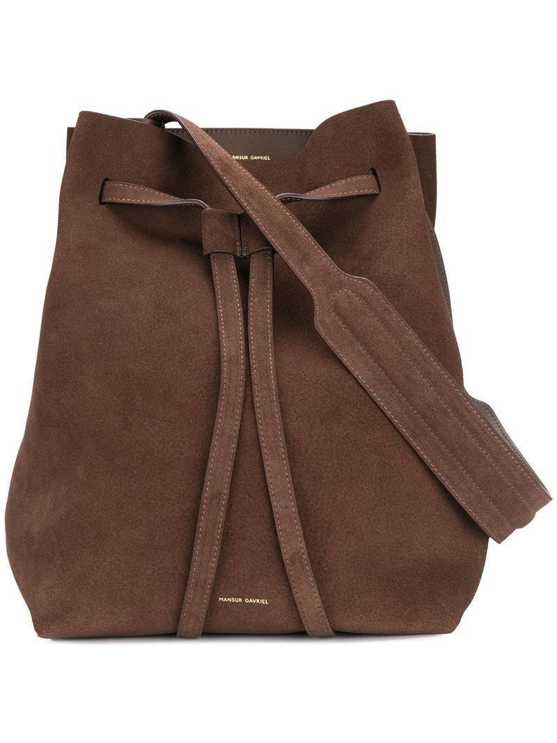 lyst mansur gavriel drawstring bucket bag in brown. Black Bedroom Furniture Sets. Home Design Ideas