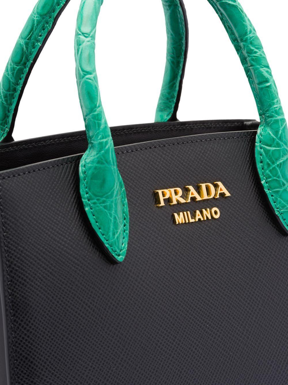 cdbf3f397ee8 Prada Saffiano Leather And Crocodile Bag in Black - Lyst