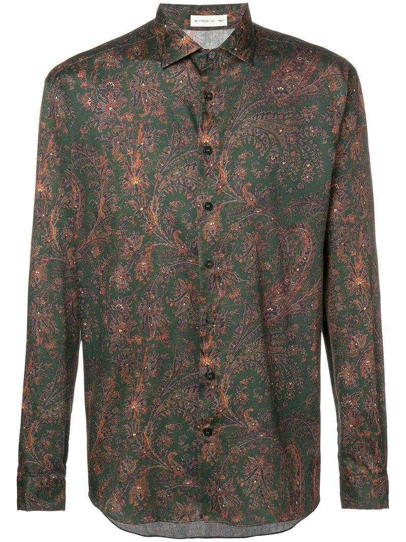 7ff41b234538 Etro - Green Printed Button Shirt for Men - Lyst. View fullscreen