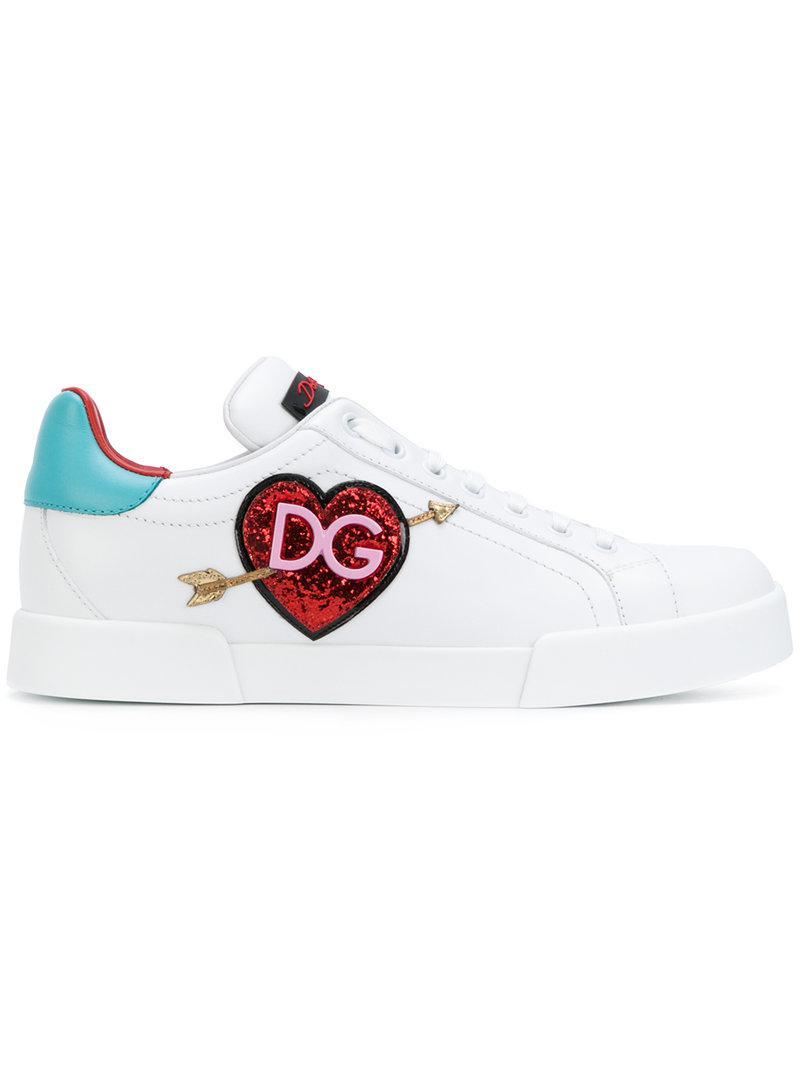 c4fbc74bab62 Lyst - Dolce   Gabbana Appliqué Logo Heart Sneakers in White