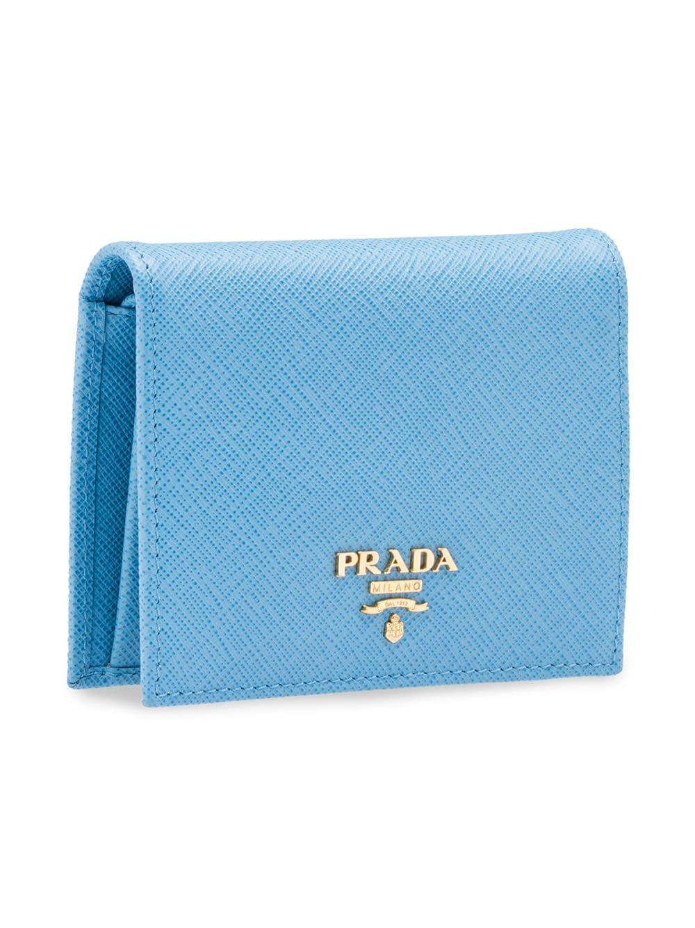 38eec1e502ca Lyst - Prada Logo Plaque Small Wallet in Blue