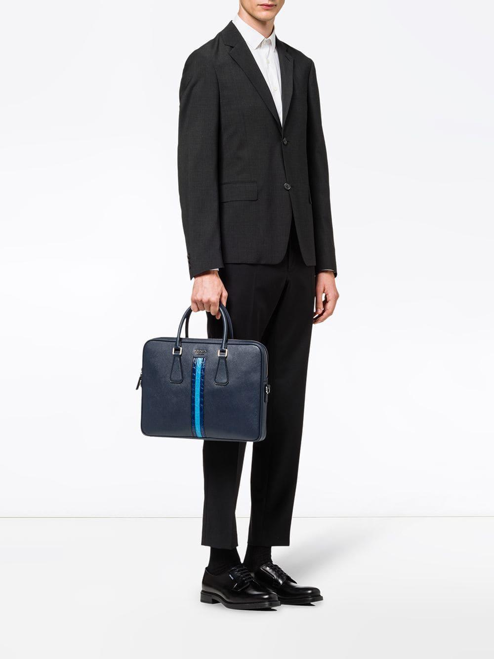 Lyst - Prada Logo Zipped Laptop Bag in Blue for Men 205f25e697c42
