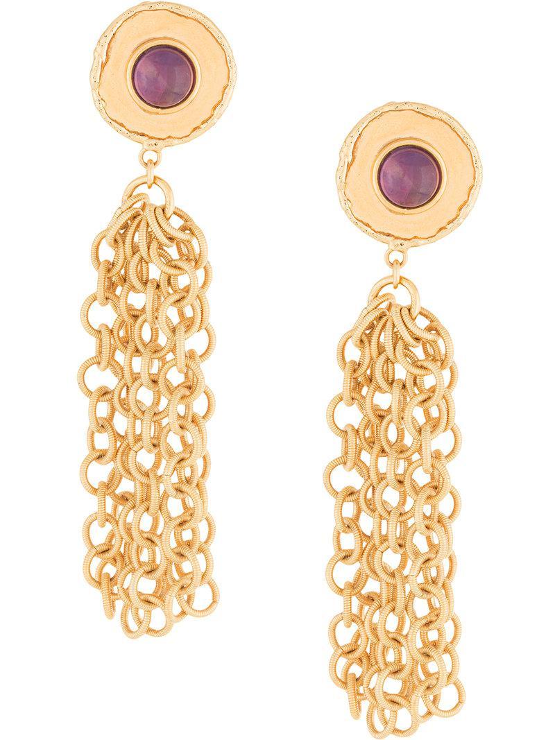 Sylvia Toledano Chain Amethyst earrings - Metallic aalFEv