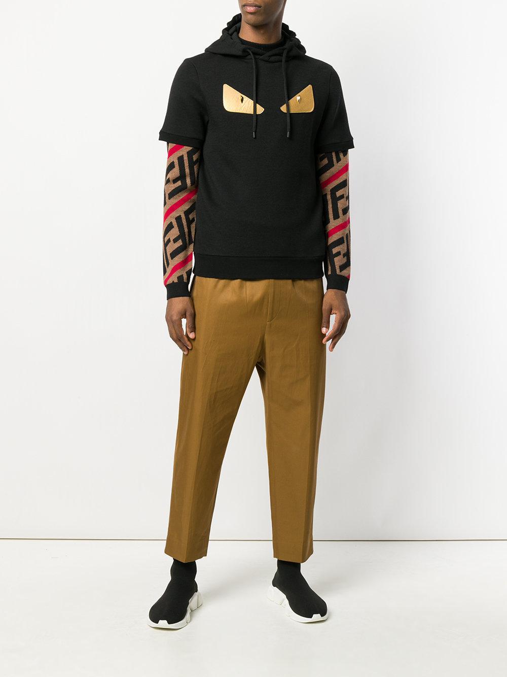 552a2644f53a Lyst - Fendi Bag Bugs Short Sleeve Hoodie in Black for Men