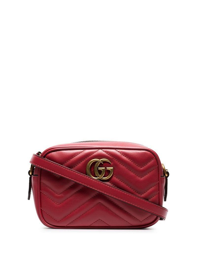 da038773da8 Lyst - Gucci Red Marmont Leather Cross Body Bag in Red