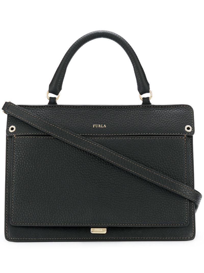 textured contrast stitch shoulder bag - Black Furla Outlet Store Sale Online 100% Authentic Online Free Shipping For Nice Clearance Best Sale uxiLI