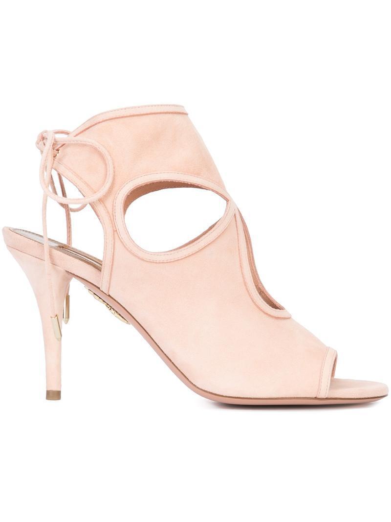 Sexy Thing Cutout Suede Sandals - Baby pink Aquazzura 1n4aIkfR