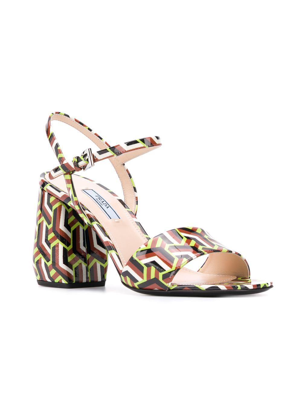 5da09f4ef8bd Lyst - Prada Printed Sandals in Brown - Save 19%