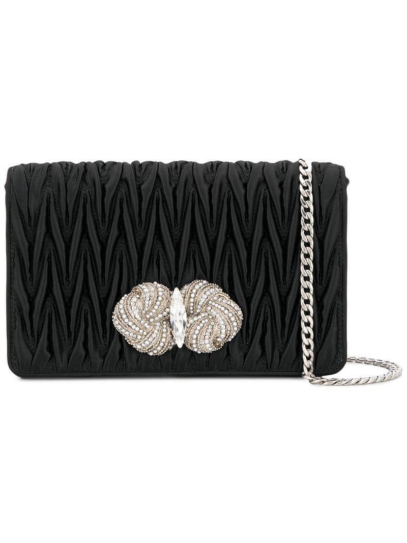 bb1a47b4989c Miu Miu Matelassé Embellished Bag in Black - Lyst