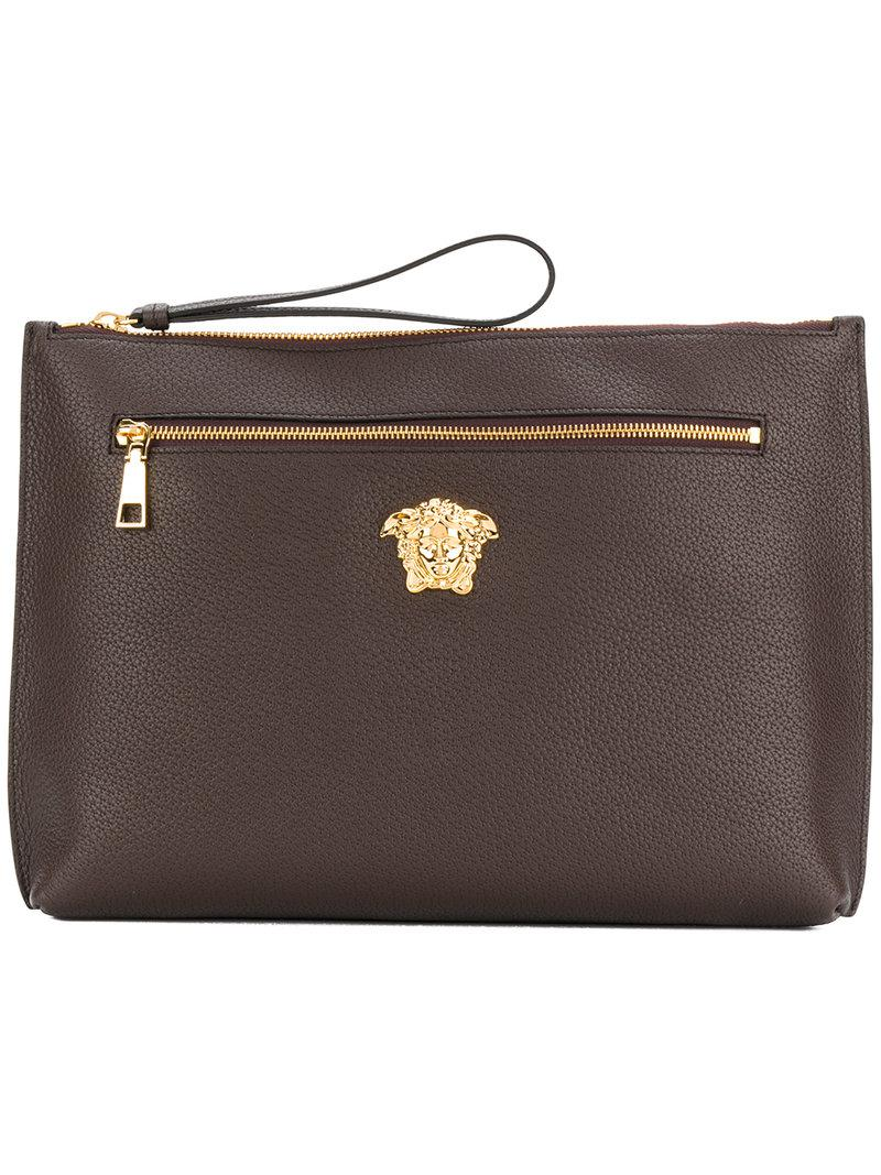 1392e50605 Versace Palazzo Medusa Clutch Bag in Brown - Lyst