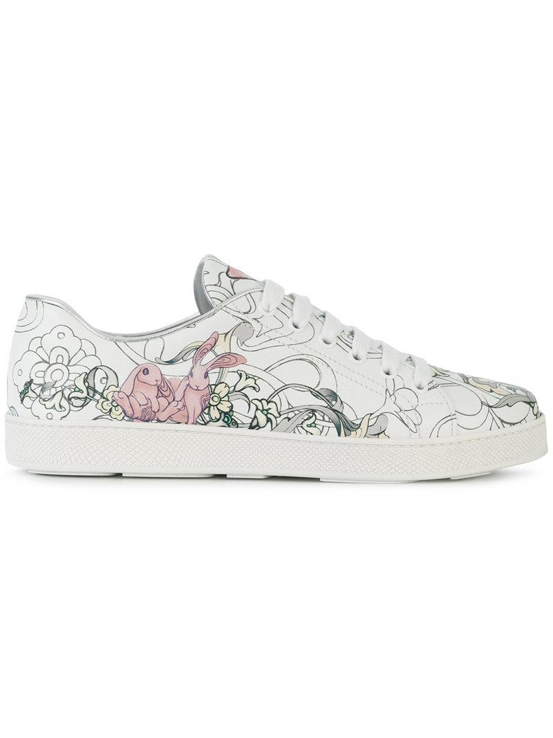 logo print low-top sneakers - White Prada Discount Largest Supplier Shopping Online Cheap Price Choice Sale Online Cheap Outlet 77zKrS2