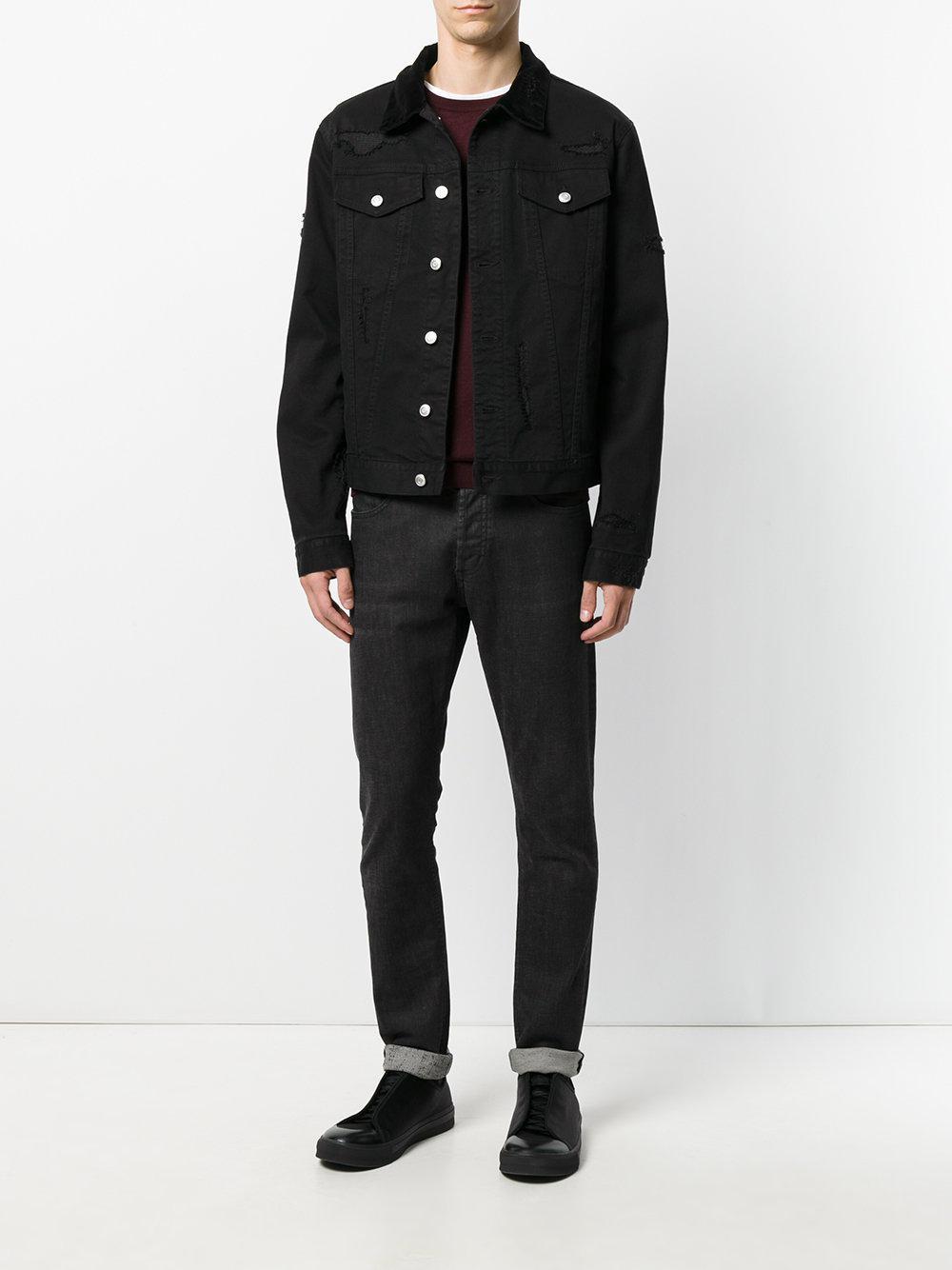 Lyst - Alexander mcqueen Distressed Denim Jacket in Black ...