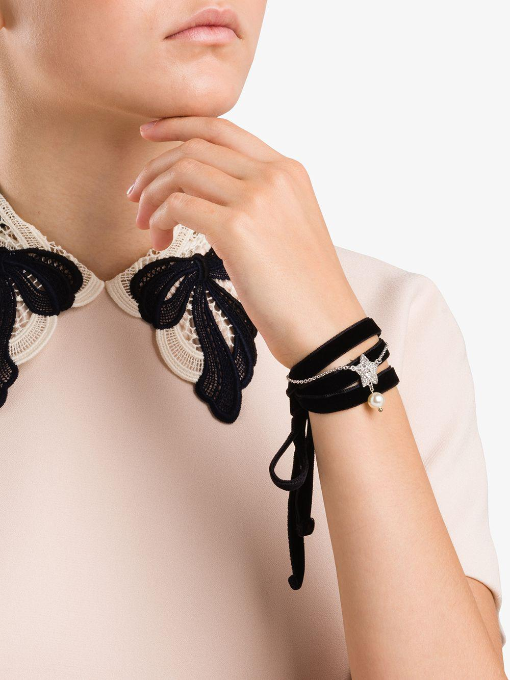 4e53d4a5b056 Miu Miu - Black Crystal And Pearl Wrap Bracelet - Lyst. View fullscreen