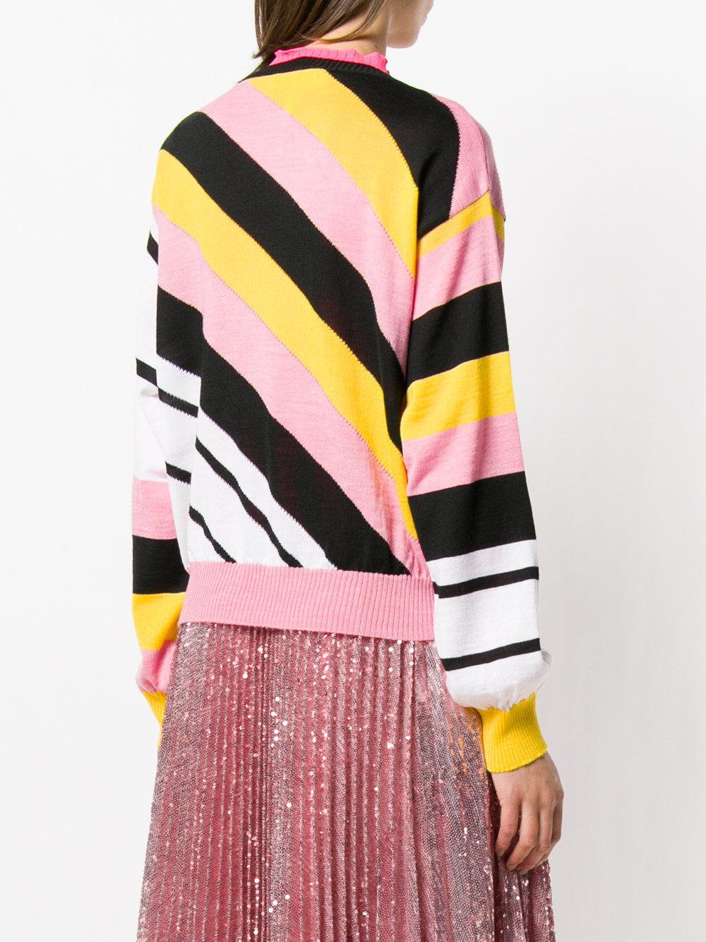 Lyst Msgm Diagonal in stripe Pink Sweater PaaqH