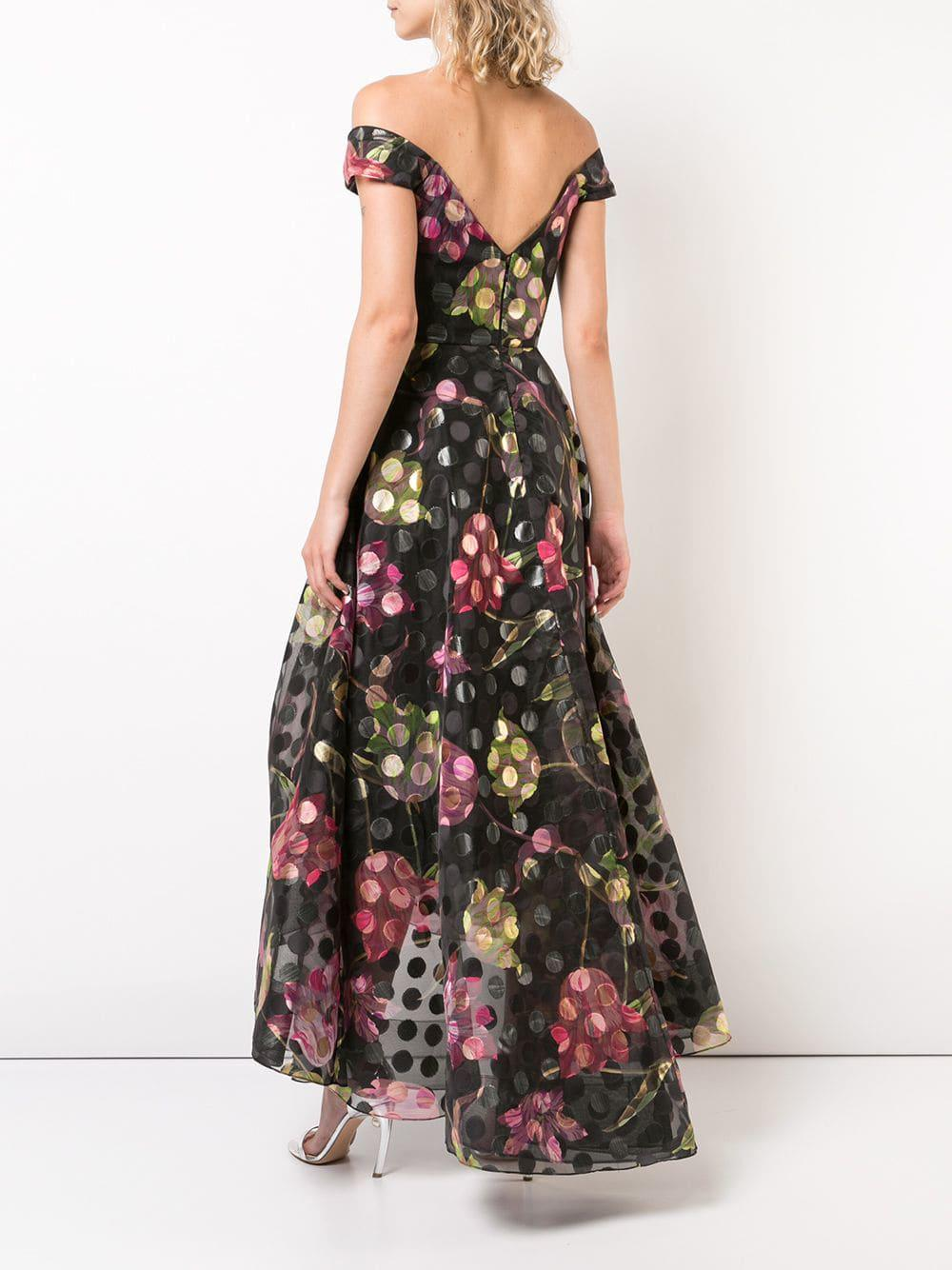 d1c142588f Marchesa notte - Black Off-the-shoulder Floral Dress - Lyst. View fullscreen