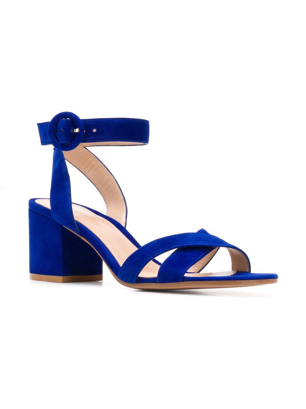 cb7f567343c Lyst - Gianvito Rossi Frida Block-heel Sandals in Blue