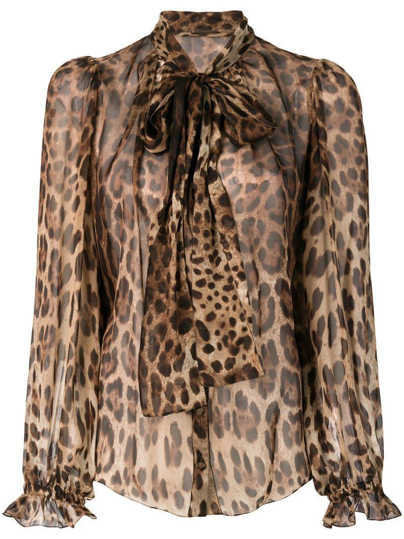 f43bc706 Dolce & Gabbana Leopard-print Pussy Bow Blouse in Brown - Lyst