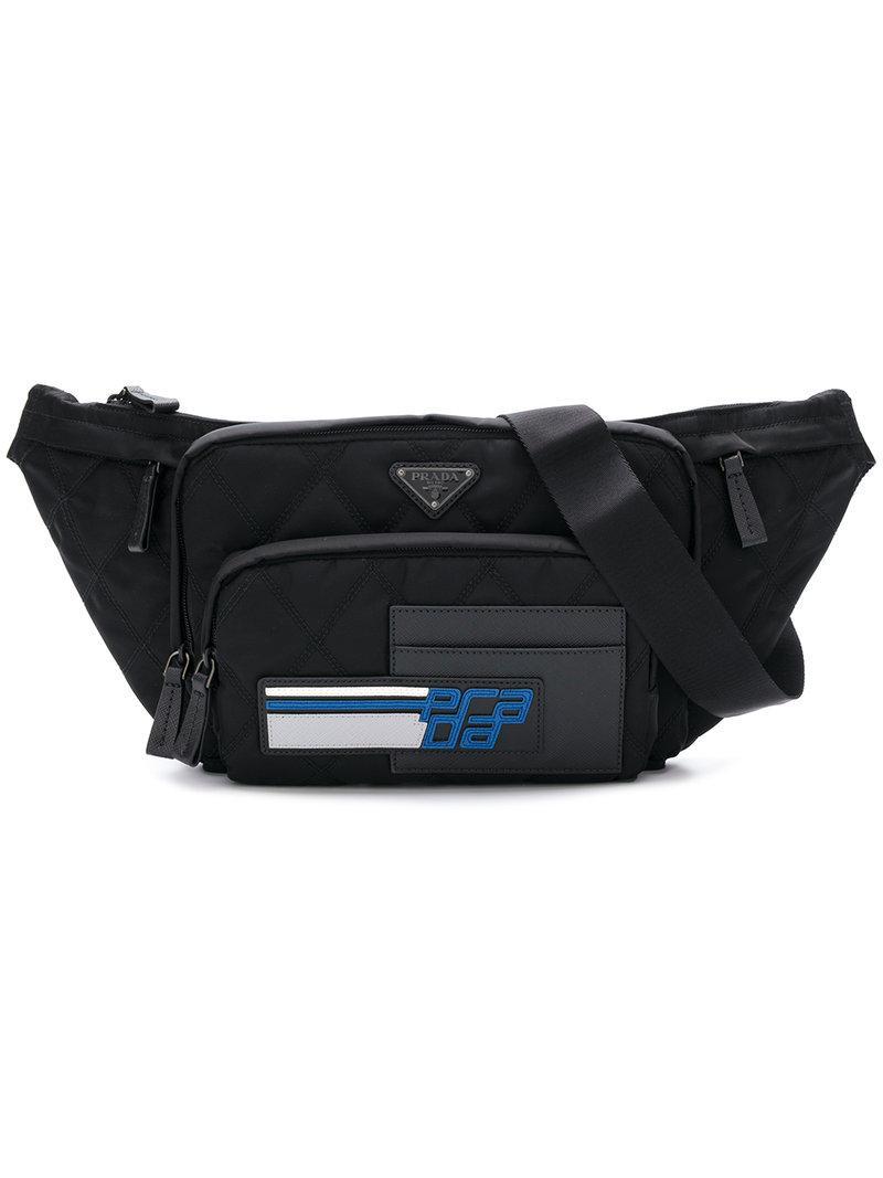 38042a5accb5 ... 50% off prada. mens black quilted logo belt bag 88f28 8f3a9