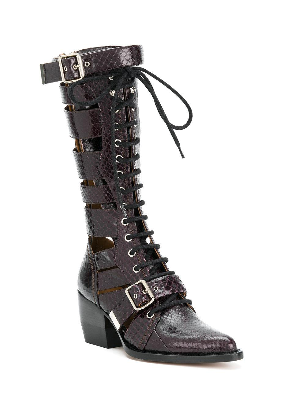 Chlo 233 Leather Rylee Boots In Red Lyst