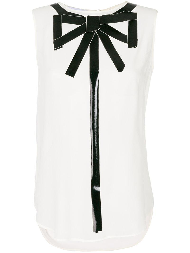 09304354dcabe8 Lyst - Moschino Trompe L oeil Sleeveless Blouse in White