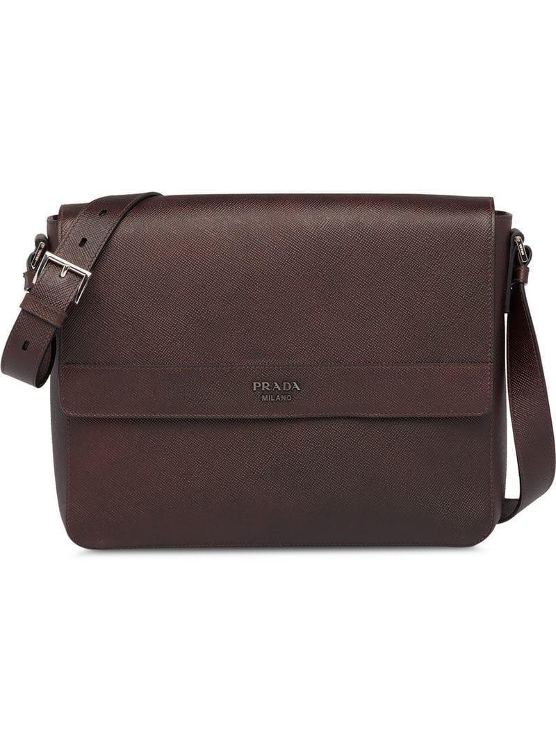34816be7ab Prada Saffiano Leather Shoulder Bag in Brown for Men - Lyst