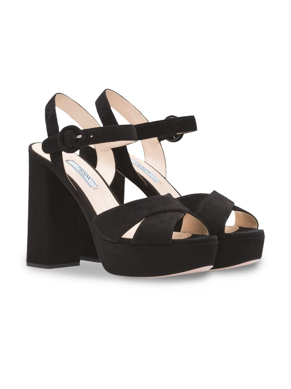 78c0515df17 Lyst - Prada Suede Platform Sandals in Black