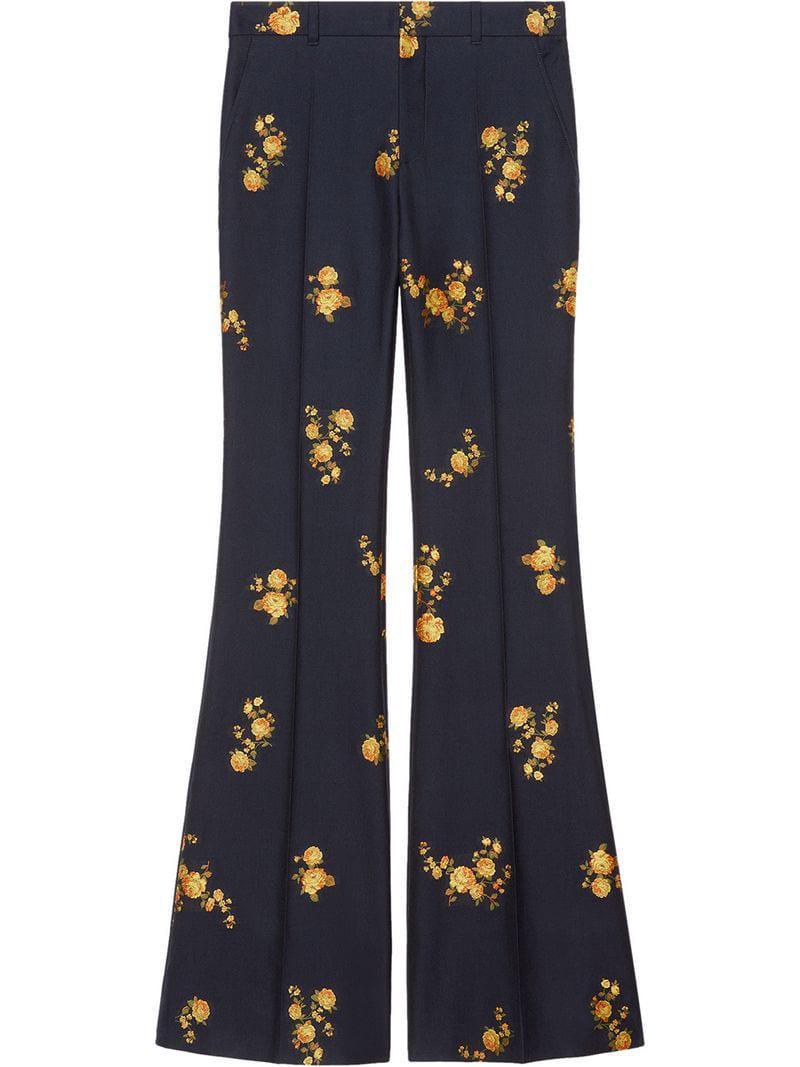 8e45b88c1 Gucci - Blue Pantalones florales de fil coupé - Lyst. Ver en pantalla  completa