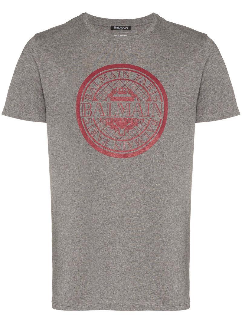 00bc346f Balmain - Gray Grey And Red Logo Print Cotton T Shirt for Men - Lyst. View  fullscreen