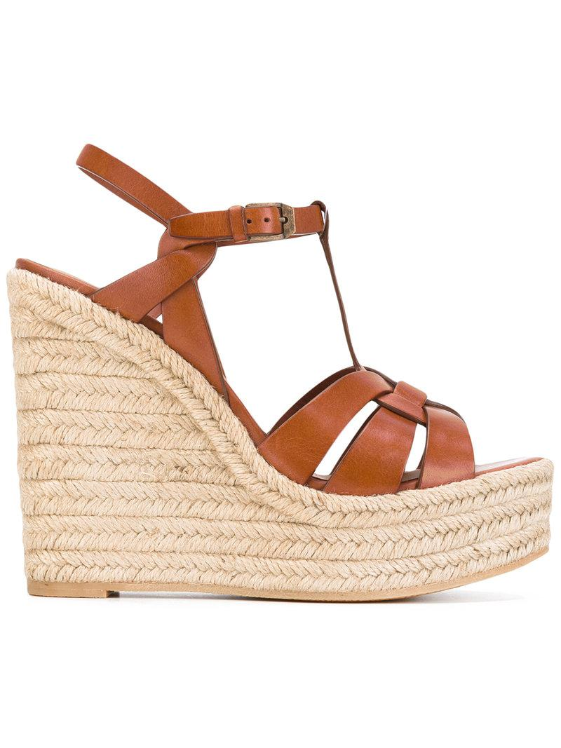 24c8f448ec2 Lyst - Saint Laurent Tribute Espadrille Wedged Sandals in Brown ...