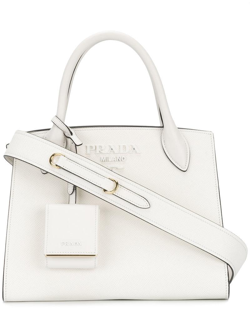 4521ba9c4394 Prada Paradigm Small Tote Bag in White - Lyst