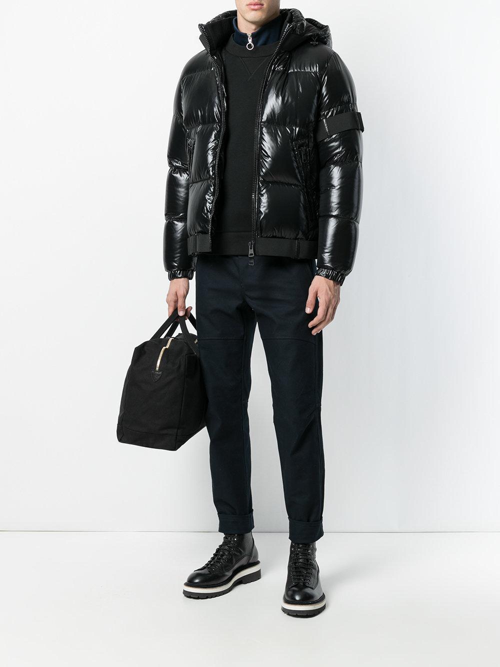 lyst moncler brook padded jacket in black for men