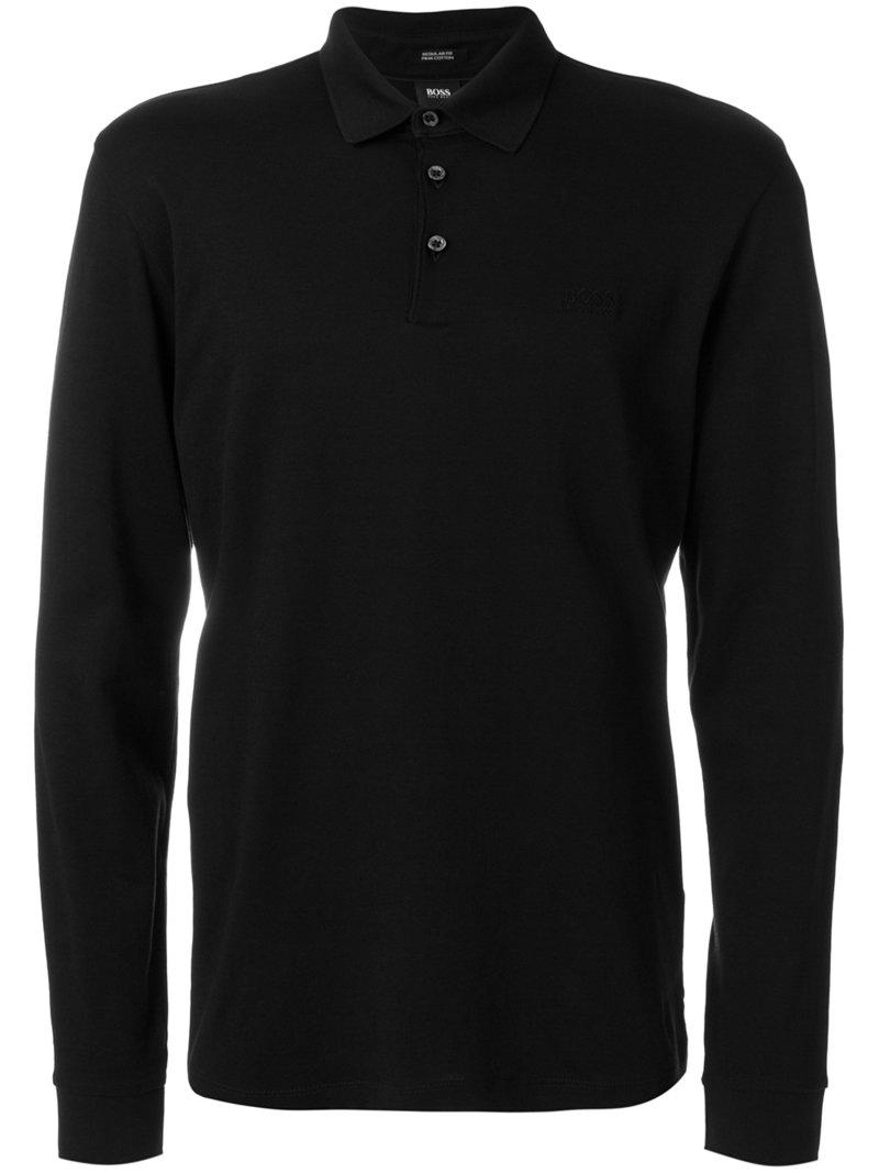 Lyst Boss Long Sleeve Polo Shirt In Black For Men