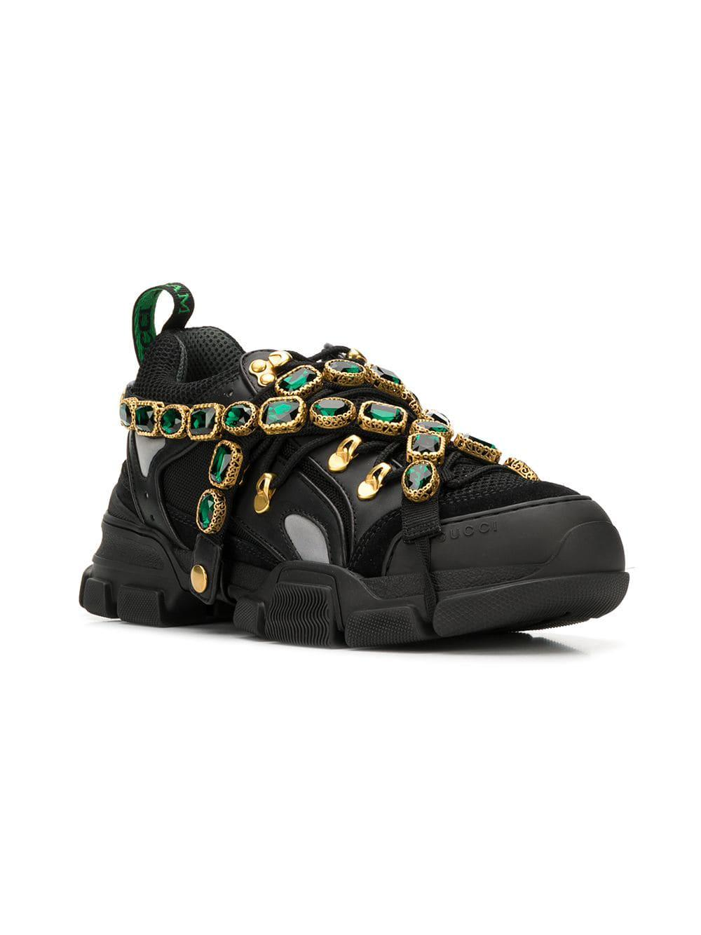 32887ede28c Lyst - Gucci Flashtrek Sneakers With Removable Crystals in Black for Men