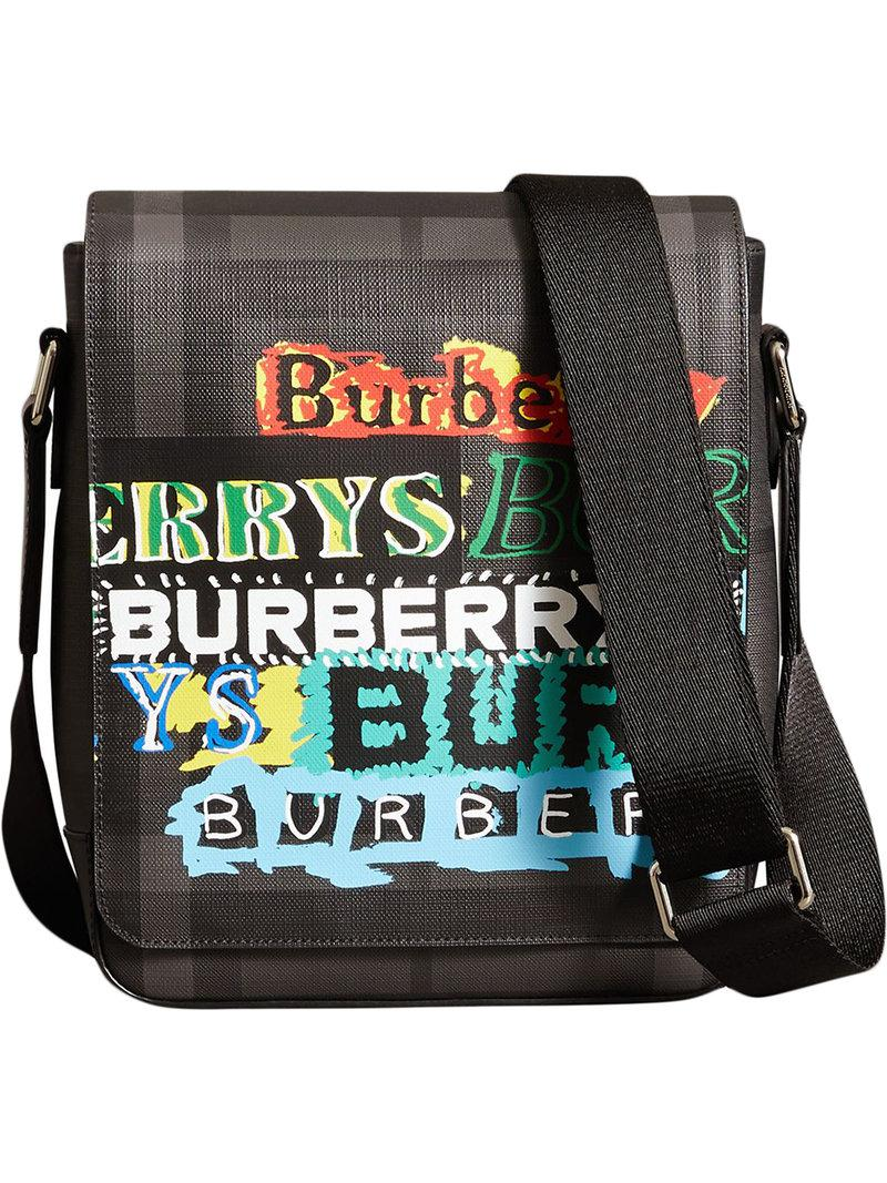 Lyst - Burberry Tag Print London Check Crossbody Bag in Gray for Men aa96cfdf272f2